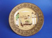 Rare Early Royal Doulton 'Gondoliers' Whieldon Ware Rack Plate c1909